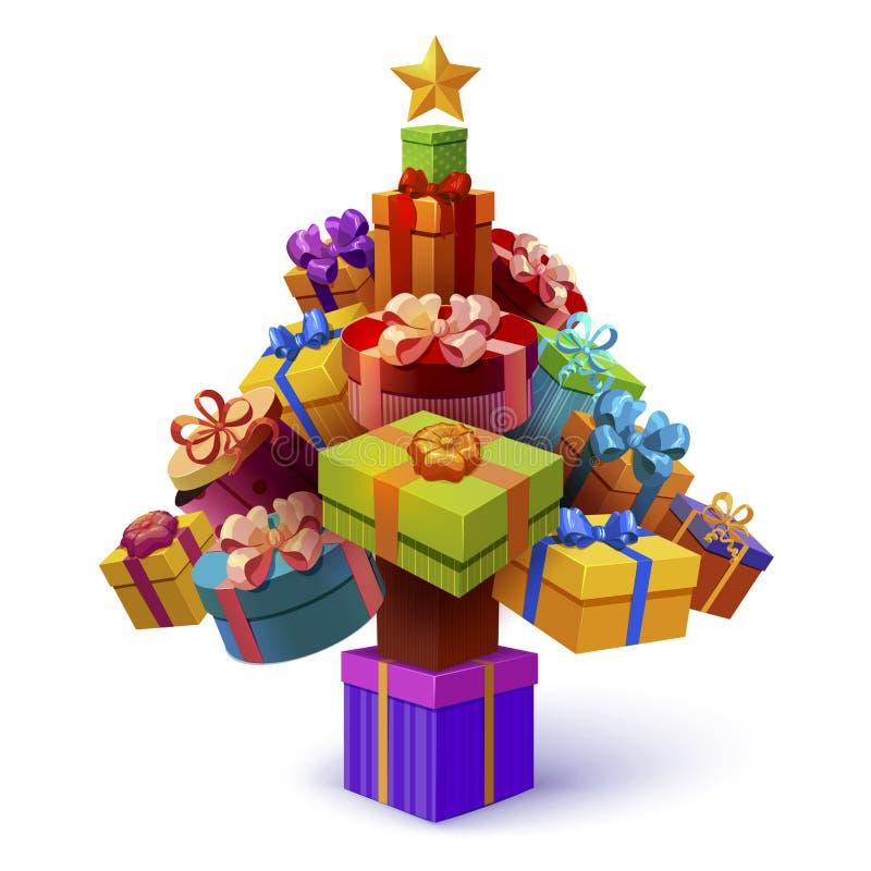 Árbol de navidad de la composición de las cajas de regalo stock de ilustración
