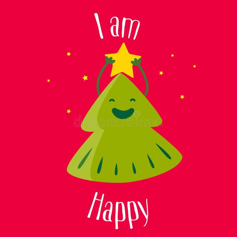 Árbol de navidad de la diversión con la estrella en fondo rojo Soy feliz Ilustración del vector stock de ilustración