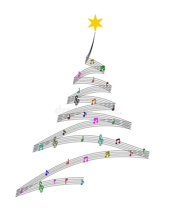 Árbol de navidad de la música stock de ilustración