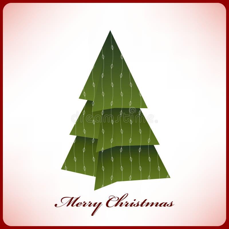 Árbol de navidad de la papiroflexia de la tarjeta de Navidad ilustración del vector