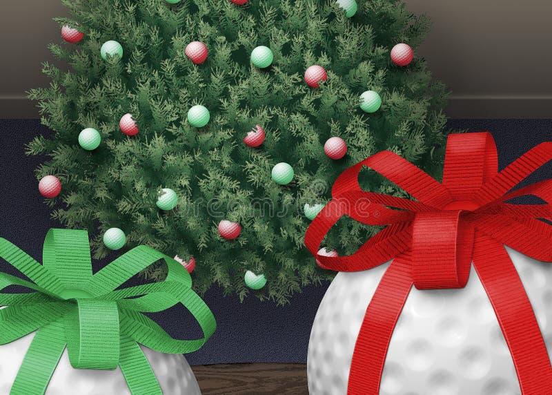 Árbol de Navidad de la pelota de golf stock de ilustración