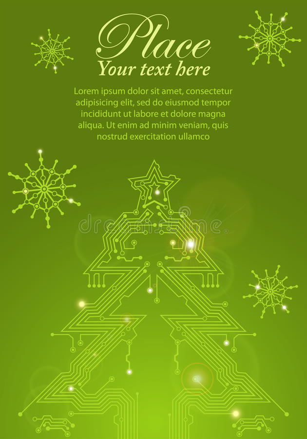 Árbol de navidad de la tarjeta de circuitos ilustración del vector