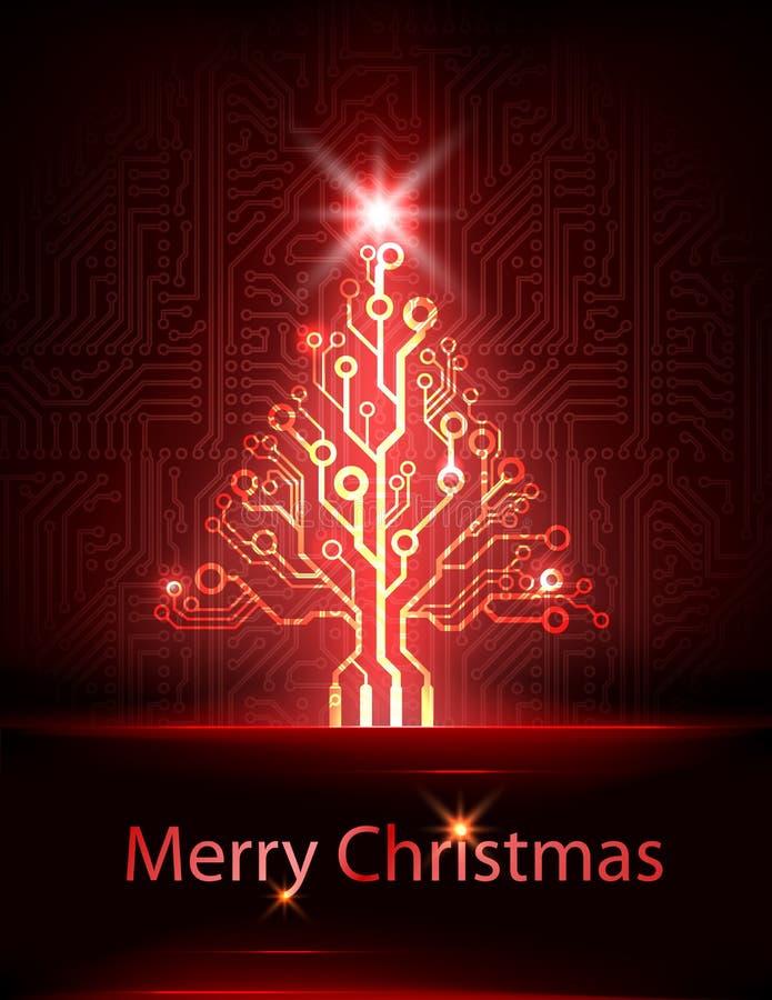 Árbol de navidad de la tecnología del vector stock de ilustración