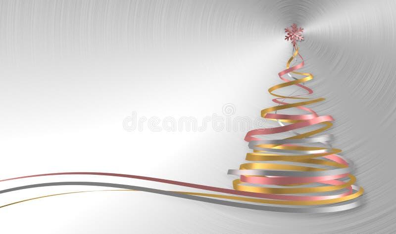 Árbol de navidad de las cintas blancas, rosadas y amarillas sobre fondo del metal stock de ilustración