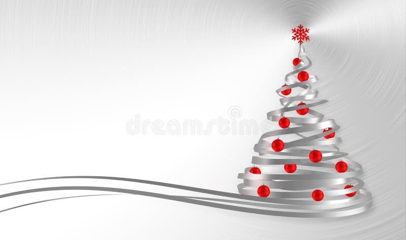 Árbol de navidad de las cintas del blanco con las bolas rojas sobre fondo del metal stock de ilustración