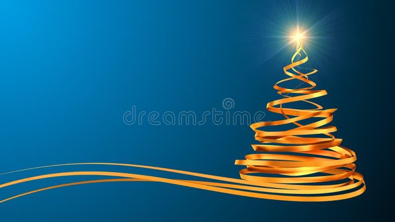 Árbol de navidad de las cintas del oro sobre ciánico libre illustration
