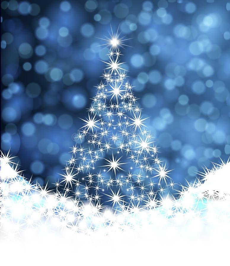 Árbol de navidad de las estrellas en un fondo azul del fondo ilustración del vector