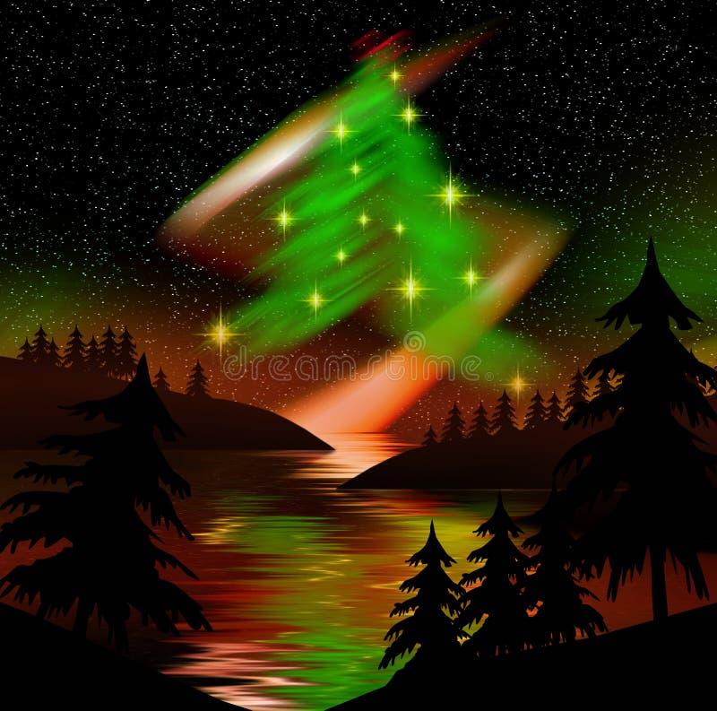 Árbol de navidad de las luces norteñas stock de ilustración