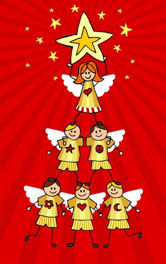 Árbol de navidad de las querubes stock de ilustración