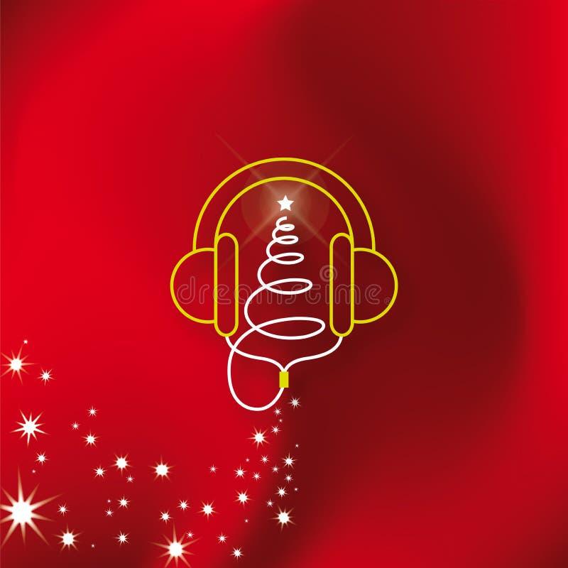 Árbol de navidad de los auriculares de la música ilustración del vector