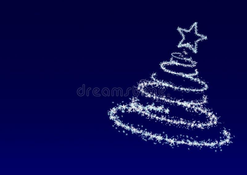 Árbol de navidad de los copos de nieve en el fondo azul ilustración del vector