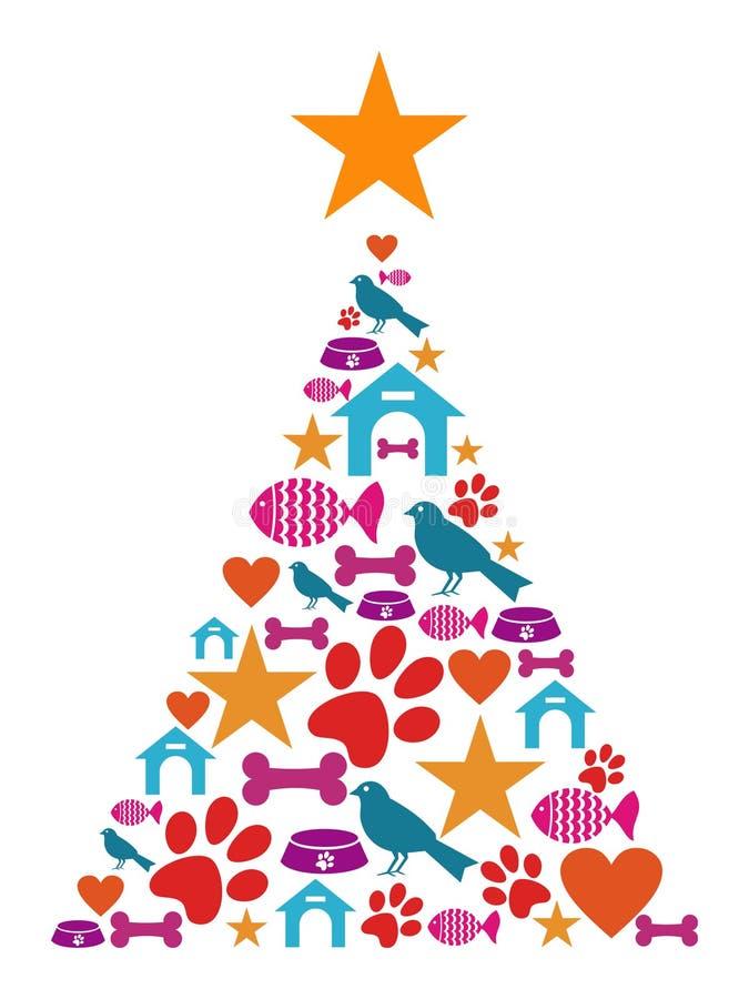 Árbol de navidad de los iconos del animal doméstico ilustración del vector