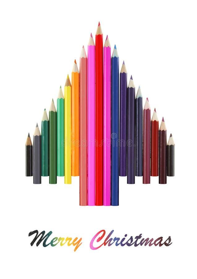 Árbol de navidad de los lápices foto de archivo libre de regalías