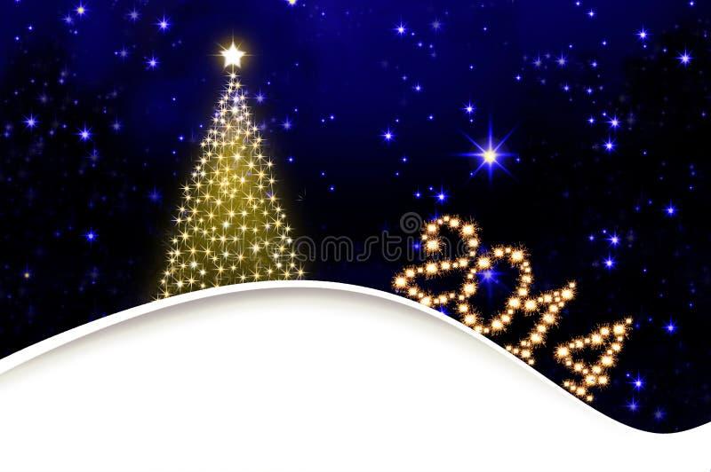 Árbol de navidad de oro. ilustración del vector