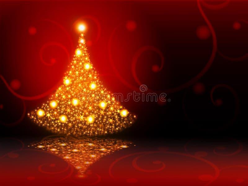 Árbol de navidad de oro. stock de ilustración