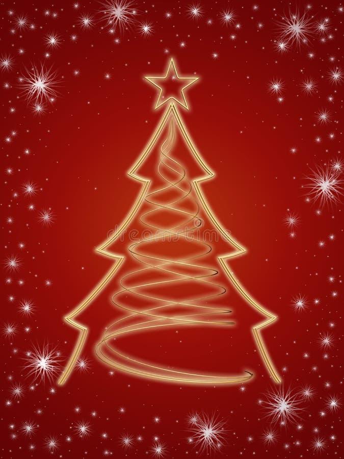 Árbol de navidad de oro 3d en rojo stock de ilustración