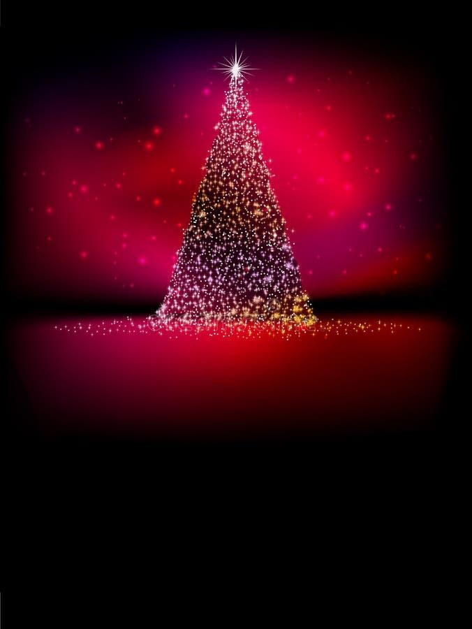 Árbol de navidad de oro abstracto en rojo. EPS 10 stock de ilustración