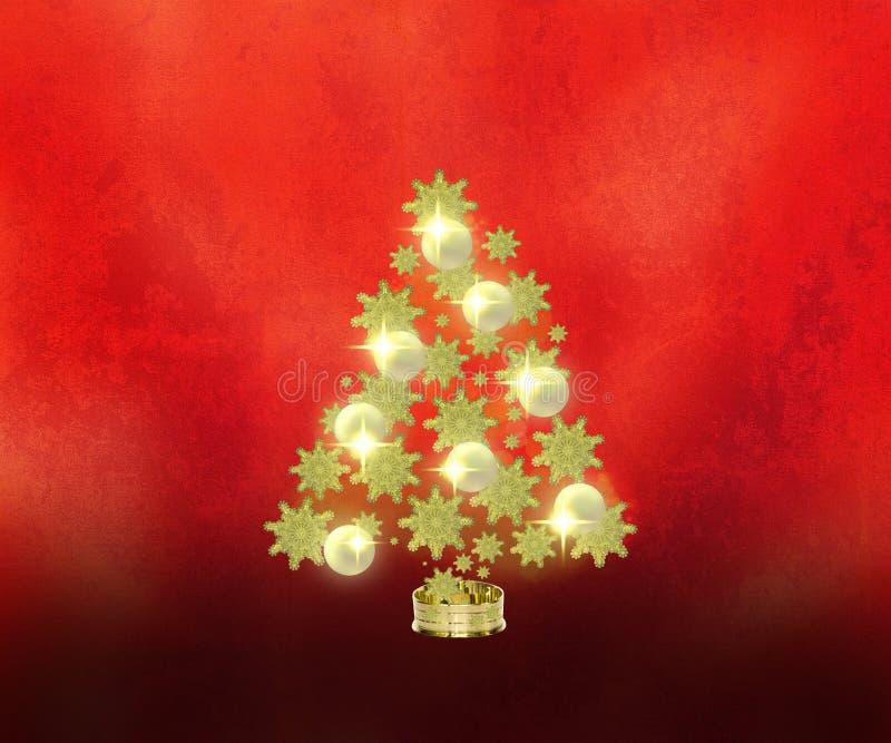 Árbol de navidad de oro en fondo rojo fotos de archivo