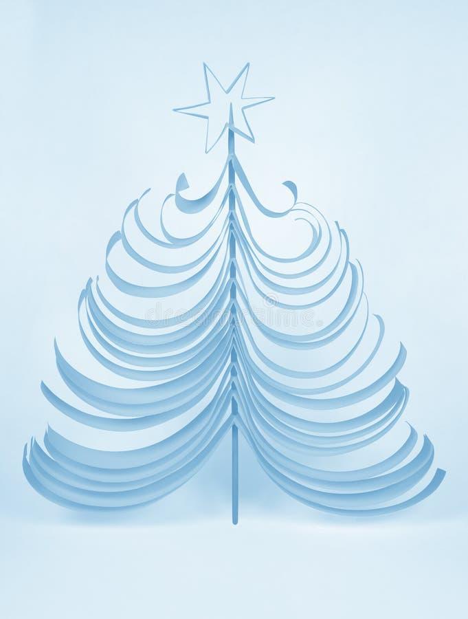 Árbol de navidad de papel-azul ilustración del vector