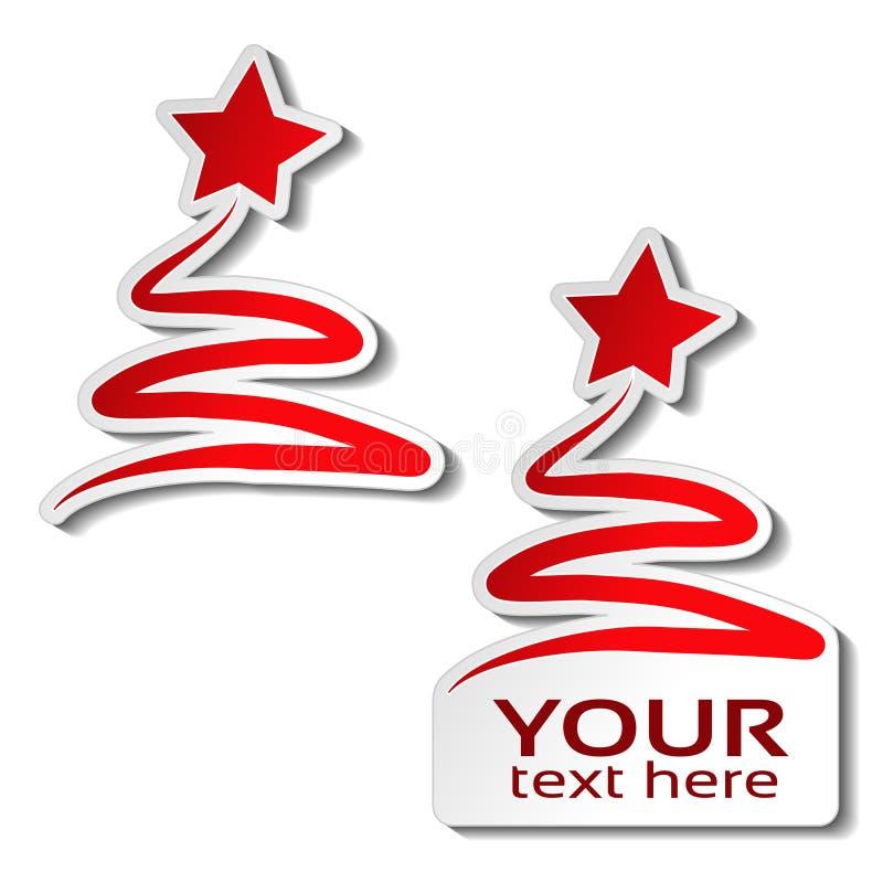 Árbol de navidad de papel con la estrella, etiqueta engomada roja en el fondo blanco Etiqueta para su texto, oferta de la venta d stock de ilustración