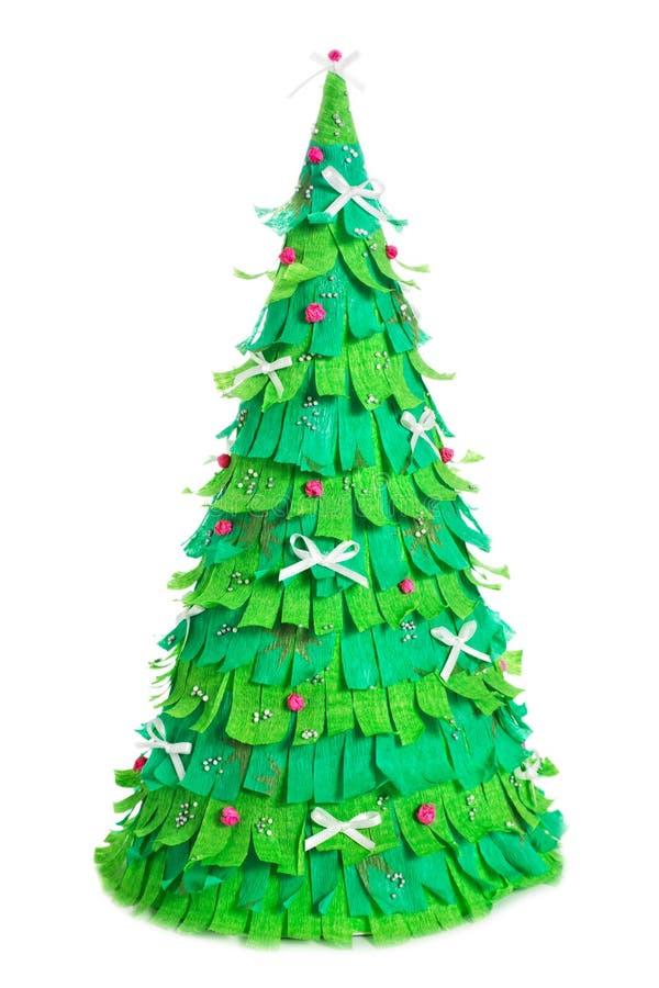 Árbol de navidad de papel en el fondo blanco fotos de archivo
