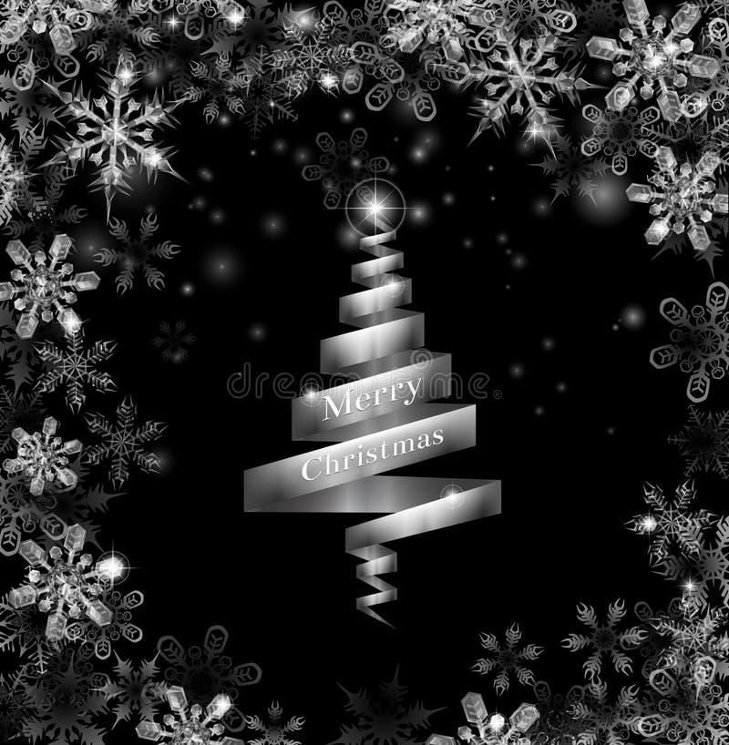Árbol de navidad de plata abstracto de la cinta stock de ilustración