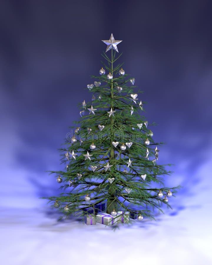 Árbol de navidad de plata azul stock de ilustración
