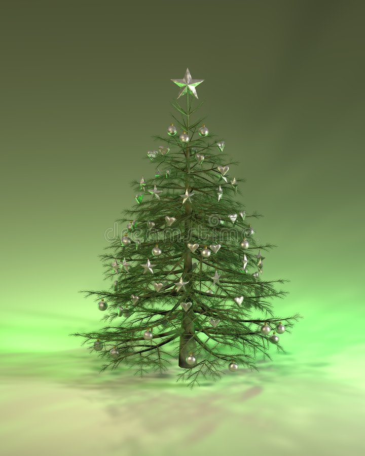 Árbol de navidad de plata verde stock de ilustración