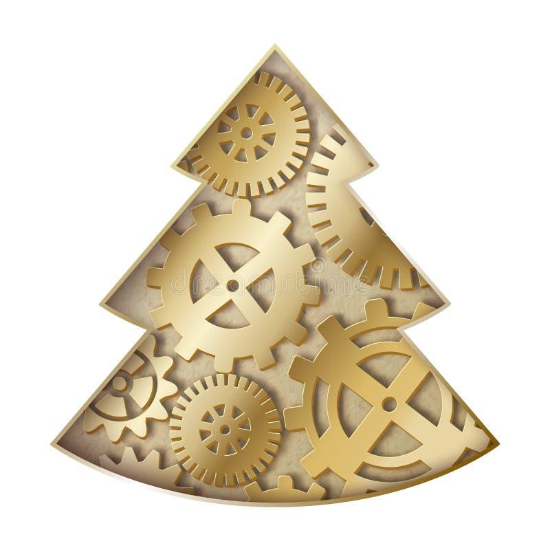 Árbol de navidad de Steampunk. ilustración del vector