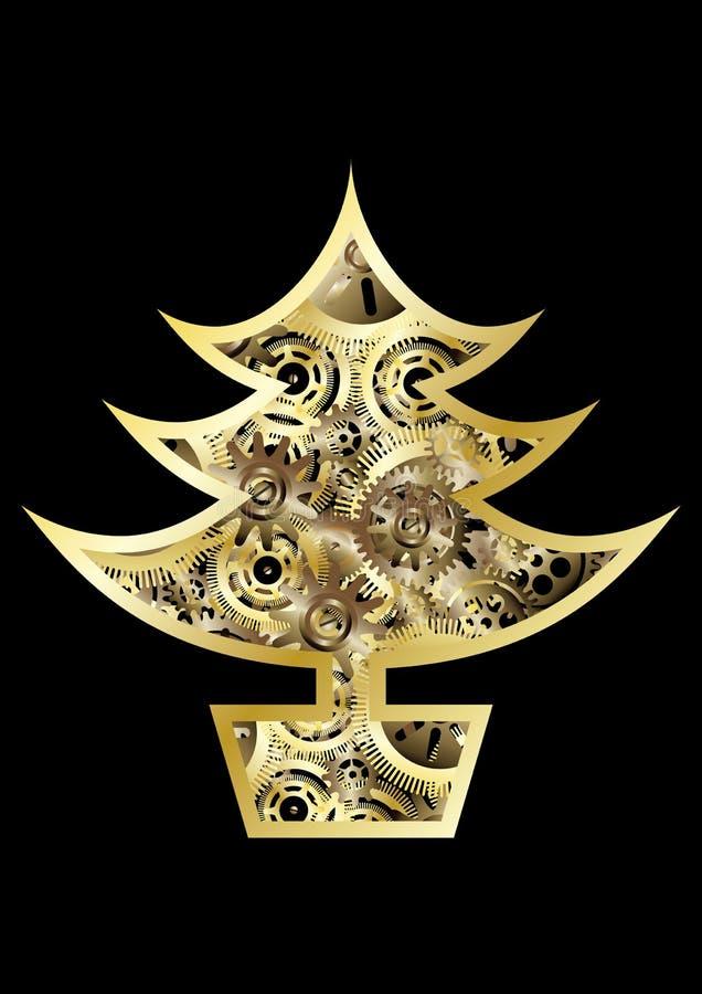 Árbol de navidad de Steampunk ilustración del vector