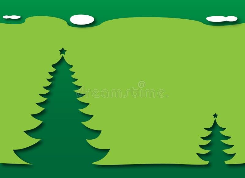 Árbol de navidad debajo del cielo - tema verde stock de ilustración