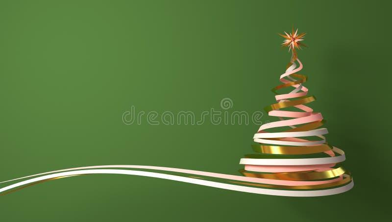 Árbol de navidad del blanco, del rosa y de las cintas del oro sobre fondo verde libre illustration