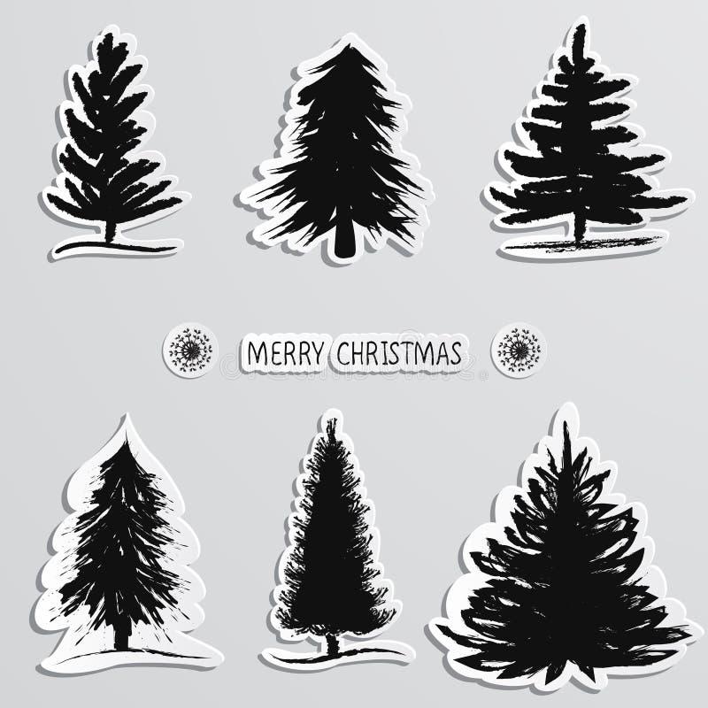 Árbol de navidad del bosquejo de la mano stickers Ilustración del vector stock de ilustración