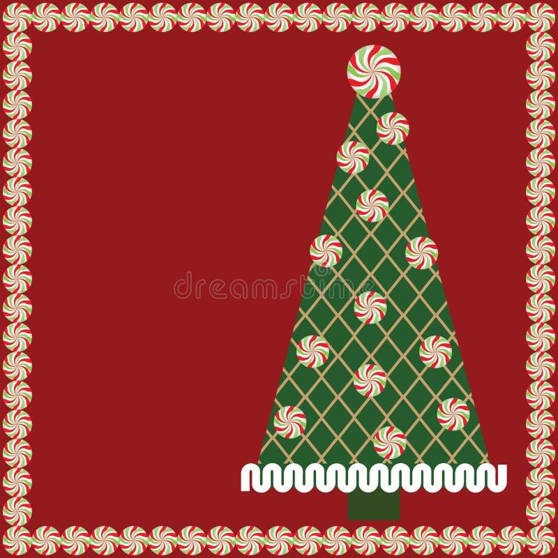 Árbol de navidad del caramelo con el marco de la hierbabuena stock de ilustración