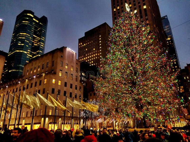 Árbol de navidad del centro de Rockefeller foto de archivo