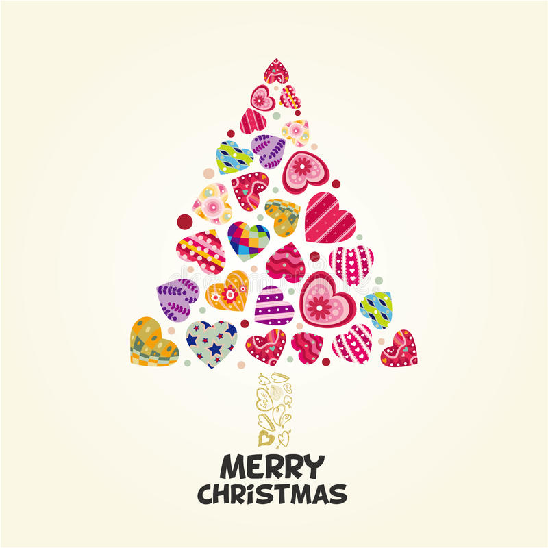 Árbol de Navidad del corazón del amor ilustración del vector