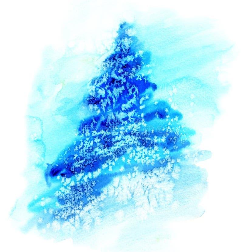 Árbol de navidad del ejemplo de la acuarela en nieve imágenes de archivo libres de regalías