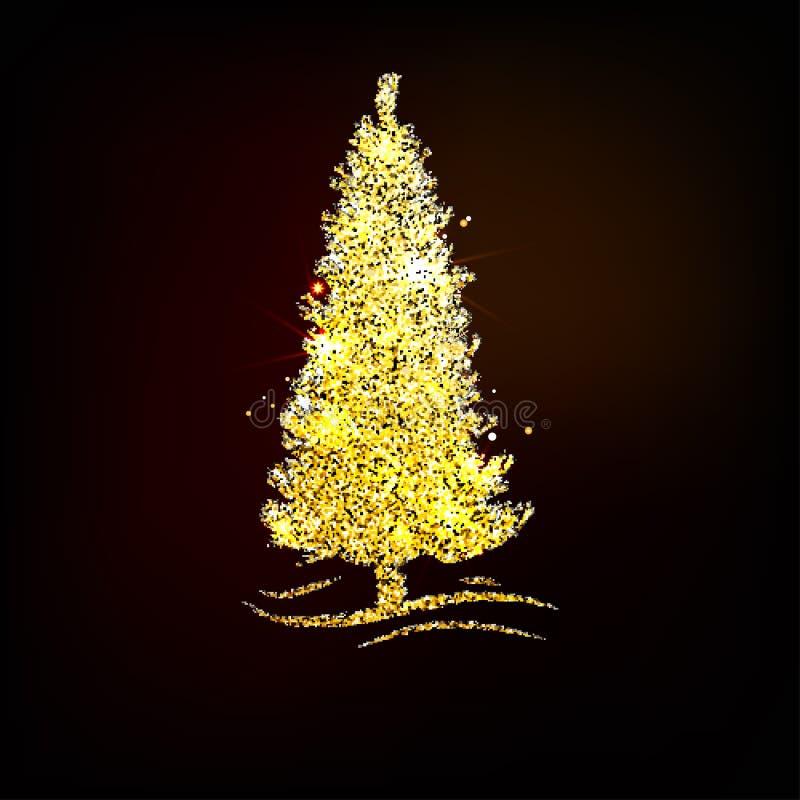 Árbol de navidad del oro del ejemplo del vector Fondo del día de fiesta stock de ilustración