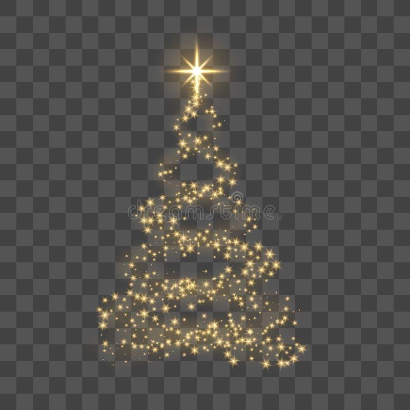 Árbol de navidad del oro en el ejemplo transparente del vector de la Feliz Año Nuevo del fondo ilustración del vector
