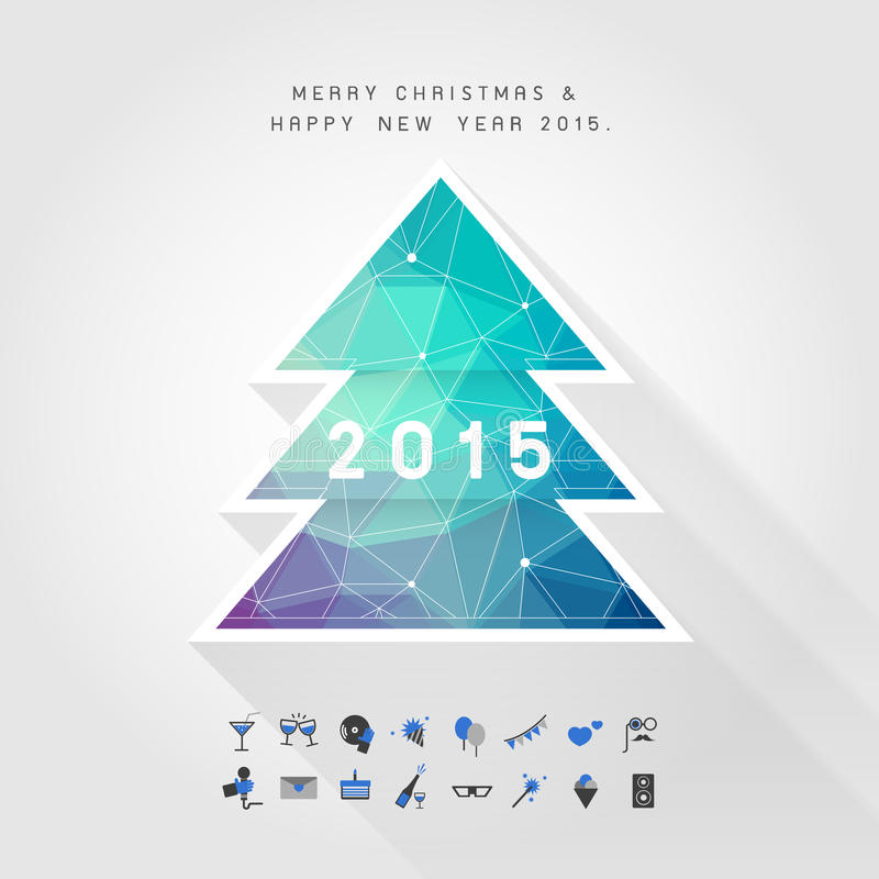 Árbol de navidad del polígono en la Feliz Navidad y la Feliz Año Nuevo 2015 libre illustration