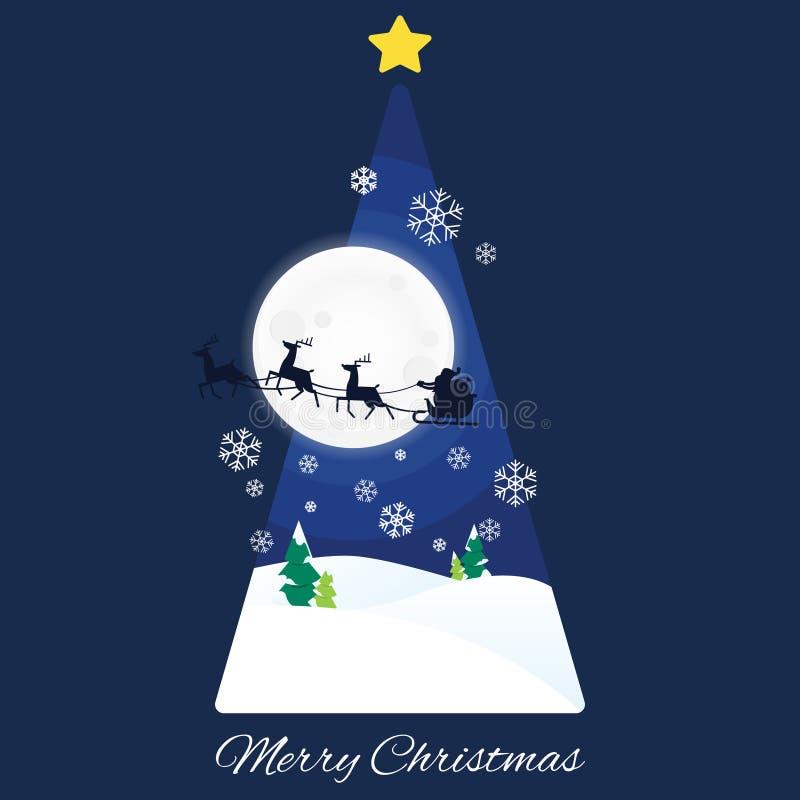 Árbol de navidad del trineo del ` s de Santa Claus ilustración del vector