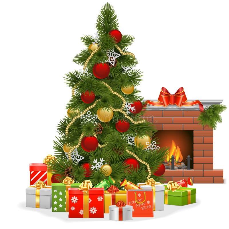 Árbol de navidad del vector con la chimenea libre illustration