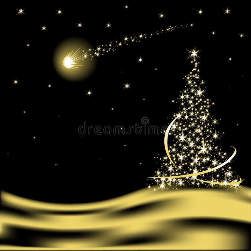 Árbol de navidad del vector con la estrella el caer stock de ilustración