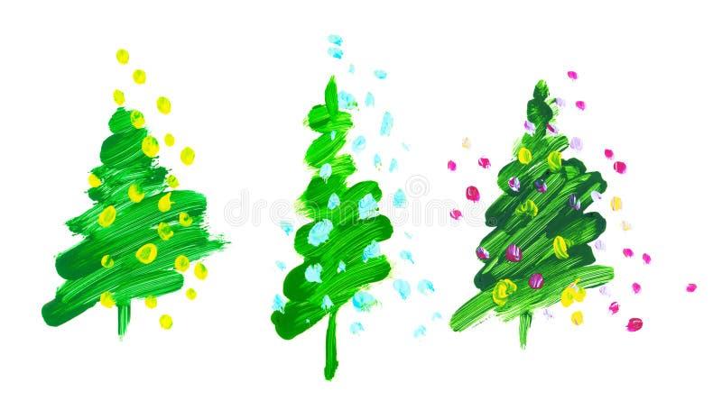 Árbol de navidad del verde del movimiento del cepillo illustra exhausto de la mano de la pintura de aceite ilustración del vector