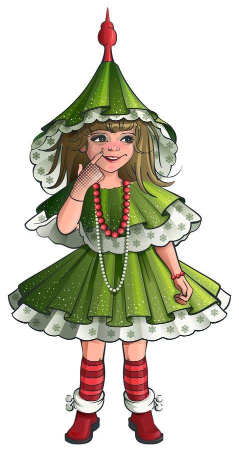 Árbol de navidad del verde del traje del Año Nuevo de la muchacha libre illustration