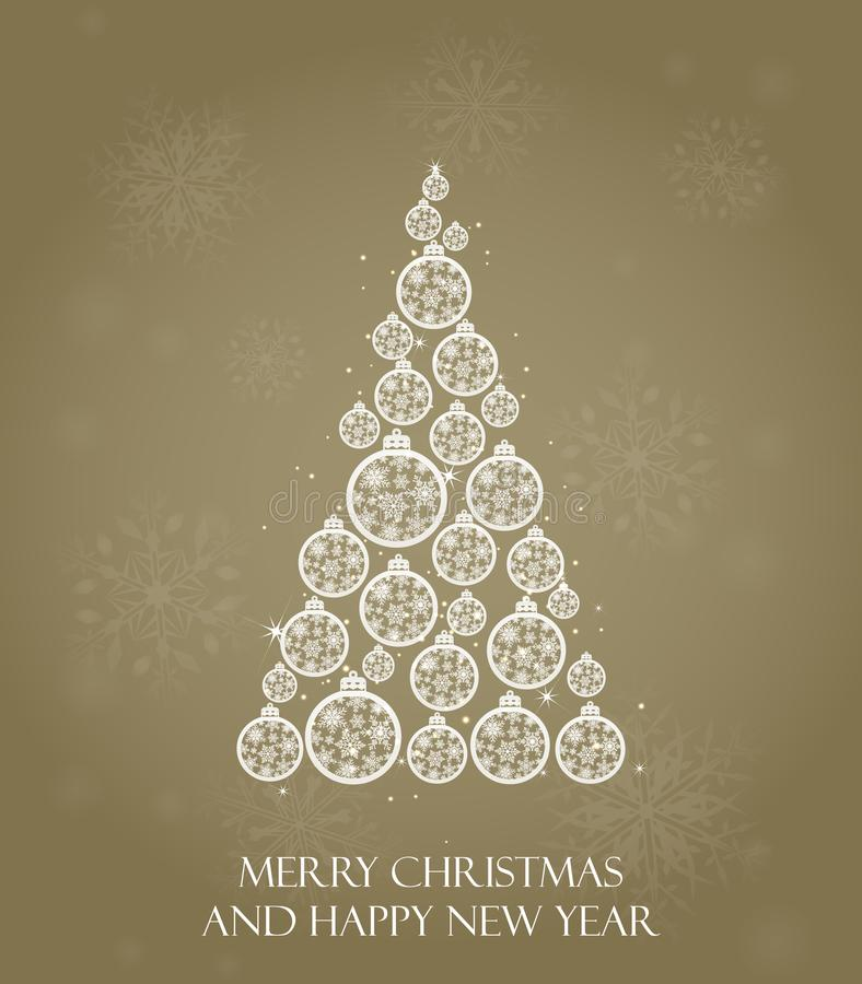 Árbol de navidad Diseño de tarjetas de felicitación del día de fiesta, calendarios, banderas, carteles, invitaciones Feliz Año Nu stock de ilustración
