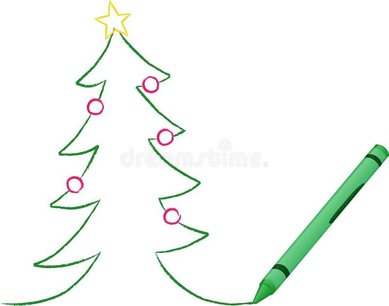 Árbol de navidad drenado creyón ilustración del vector