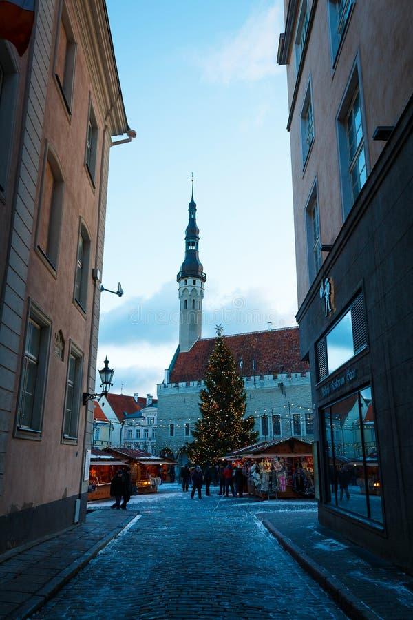 Árbol de navidad, edificio de ayuntamiento y mercado de la Navidad en Tallinn, Estonia foto de archivo libre de regalías