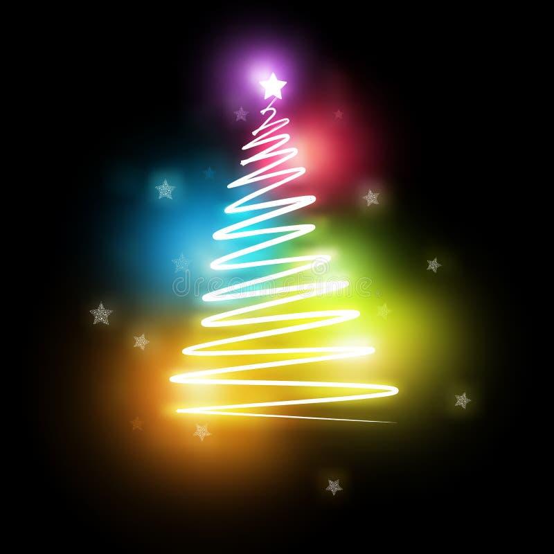 Árbol de navidad eléctrico de neón stock de ilustración