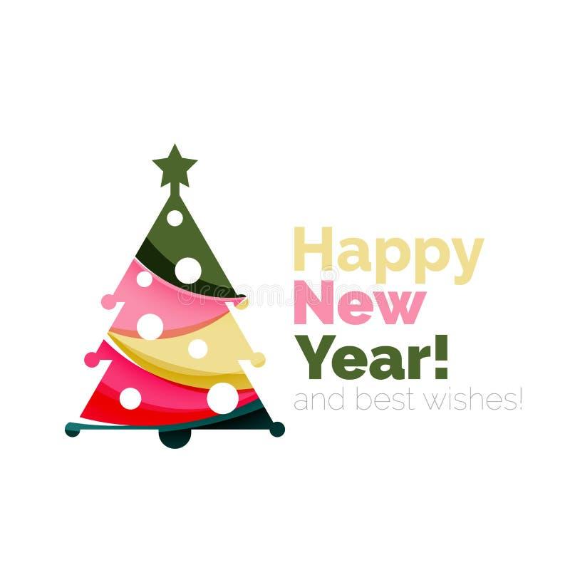 Árbol de navidad, elementos de la bandera del Año Nuevo ilustración del vector